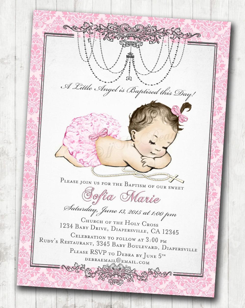 Baptism Invitation for girl Vintage Baptism Invitation For