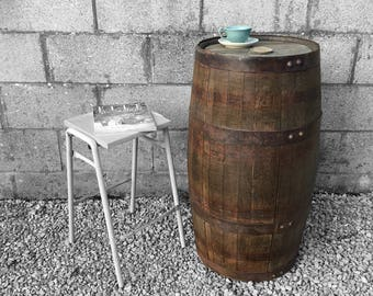 Oak Vintage Barrel Poseur Side Table Bar Restaurant