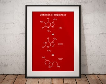 Chemistry gift, coffee lover gift, molecule, caffeine molecule, serotonin, science decor, science, caffeine chocolate, chemistry print
