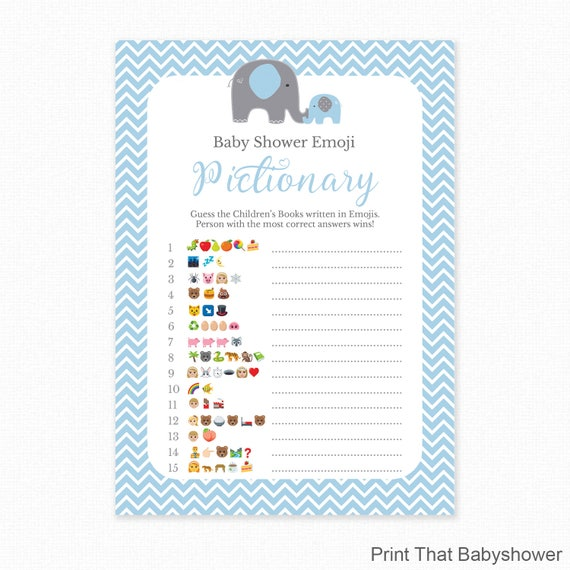 Free Printables Baby Shower Games: Baby Shower Game Blue Baby Shower Emoji Pictionary Blue