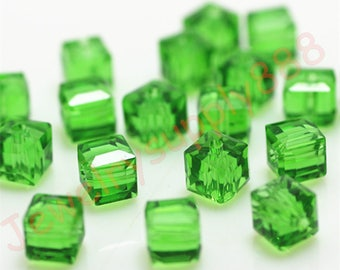 Deep Green Color 24 Square Cube Crystal Beads,Loose Jewelry cube Beads ,Square crystal beads Size 2mm 3mm 4mm 6mm 8mm 50 Colors U Pick