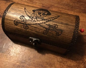 Pirate, skull and cross bones music box treasure chest, keepsake box, jewellery box, gift for swashbucklers can be personalised