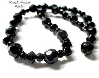 Opaque Black Beads, 8mm Faceted Rounded 14 Pieces, 6mm Bicones 16 Pieces, Halloween DIY, Assorted Jet Acrylic Beads, 4mm Round Spheres SP714
