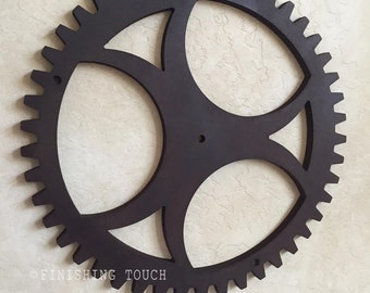 Large Industrial Style- Style 1- Wood Gear Steampunk Sprocket Mechanical Decor Wall hanging Vintage Rustic Wheel Panel Factory Molds