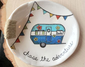 Ring Dish, Gift for Her, Best Friend Gift, Vintage Camper, Vintage RV, Jewelry Dish, Polymer Clay Ring Dish, Retro Camper