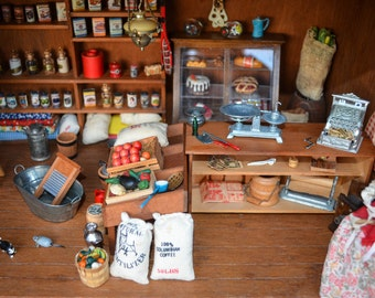 Antique Miniature - General Store Dollhouse Grocery Shop - 1920s -1930s Country Store Wooden Dollhouse
