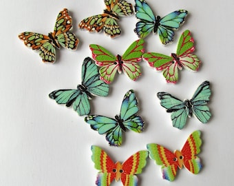 Blues and Greens Butterfly Buttons set of 10