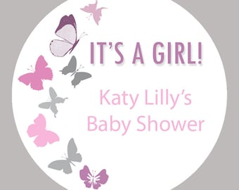 "Personalized Baby Shower Labels -  Butterfly Labels - Custom Stickers - Mason Jar - Choose your colors- 1.5"", 2"" or  2.5"" round"