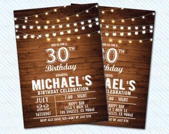 Digital Printable Adult Birthday Invitation. Wood invitation. Cheers and Beers invitation. 50th birthday. 30th birthday. Man birthday