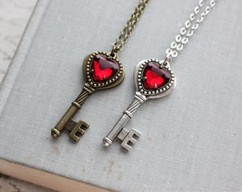 Heart Key Necklace in Antique Silver or Antique Bronze