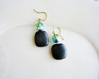 Beaded Wood Earrings, Glass Bead Earrings, Wooded Square Earring, Czech Glass Earrings, Boho Earrings
