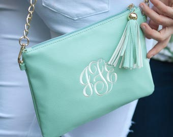 Crossbody Monogram Purse - Personalized Purse - Mint Crossbody with Tassel and Gold Chain - Monogram Clutch - Bridesmaid Gift - Gift