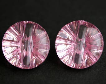 Two (2) Pink Buttons. Puffy Round Buttons. Clear Acrylic Buttons. Clear Pink Plastic Buttons. 22mm