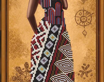 Nova Sloboda bead embroidery kit African woman with lily HD2077
