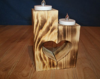 heart candle holder, wooden heart candle holder, heart tealight candle holder,  wooden candle holder, wood candle holder, heart tea light
