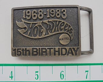 1968-1983 Hot Wheels -Mattel 15th birthday brass belt buckle