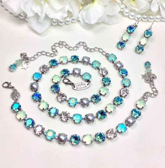 "Swarovski Crystal 8.5mm Necklace - ""Misty Morn"" Stunning Gorgeous Matte AB Colors With Silver Grey Pearls - Designer Inspired FREE SHIPPING"