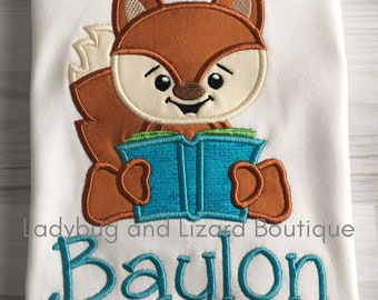 Boy Fox with Book Reading Buddy Short/Long Sleeve Top Sizes 12M-18M, 2T-5T, 6