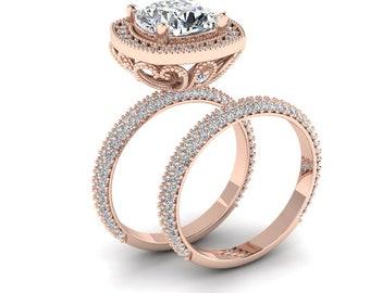 Moissanite Wedding Ring Set 2.40ct Cushion Cut Ring Forever One Moissanite 1.50ct Natural Diamonds Butterfly Ring Pristine Custom Rings