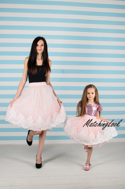Partnerlook für Mutter und Tochter passende Kleid Tutu rosa