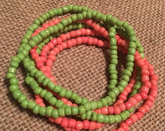 Set of 6 coral and green beaded stretch bracelets-beaded bracelet-stack bracelets