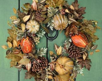 Fall Wreath, Pumpkin Wreath, Autumn Wreath, Harvest Wreath, Thanksgiving Wreath, Fall, Autumn, Front Door Wreath, Pumpkins, Harvest Decor
