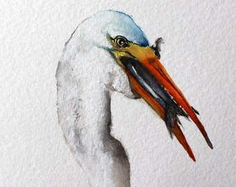 Egret original watercolor painting Honeymoon Island Egret Lunch by Betty Moore