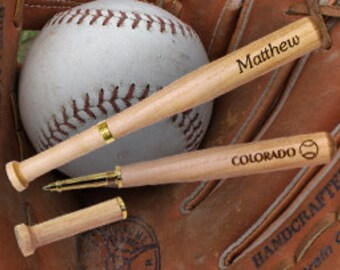 Unique Baseball Bat Pen - Engraved with YOUR NAME, TEAM, website etc.