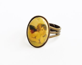 Angel Cameo Ring Vintage Cherub Ring Famous Oil Painting Jewelry Iconic Fine Art History Jewelry Raphael Art Lover Gift