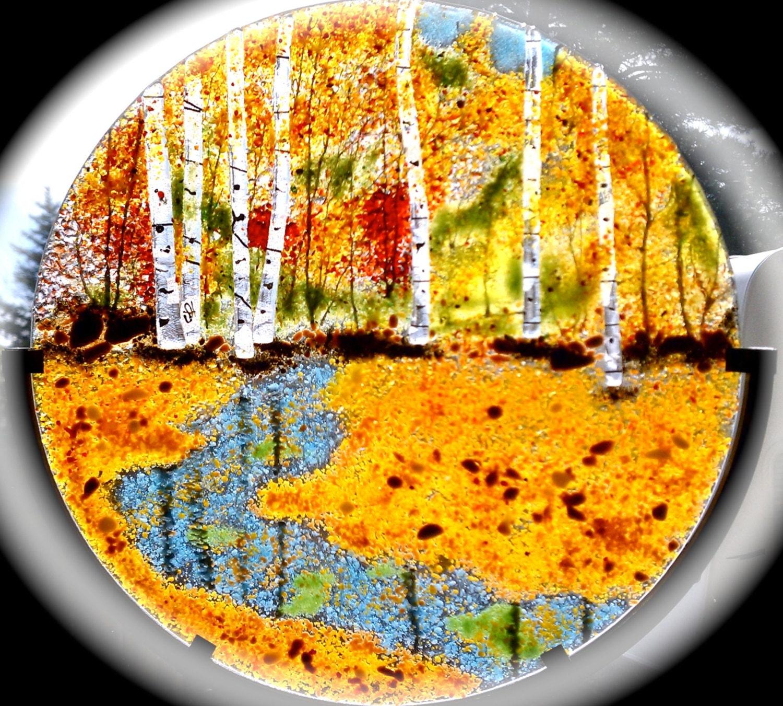 Fused Glass Aspen Maple Tree Oak Forest Autumn or Summer Panel