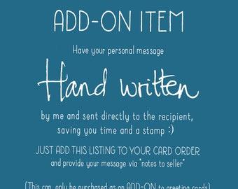 ADD-ON handwritten service - Add a handwritten message inside your card - Sent direct to recipient - Direct sending option