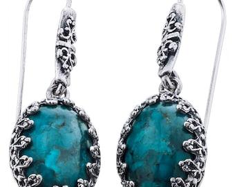 Silver Earrings, Turquoise Earrings, Sterling Silver Earrings, August Birthstone, Summer Handmade Jewelry, Silver Jewelry