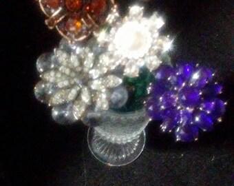 Vintage Rhinestone Jewelry Bouquet