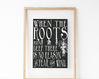 Family Tree Roots Run Deep No Reason To Fear the Wind Lyric Art Decor, Family Strong Motivation Print, Art Print, Wall Poster, Typography