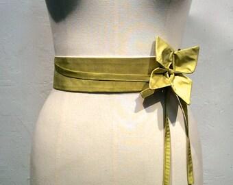 Lime green silk high waist belt.