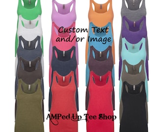 Custom Logo and or Text Womens Tank Top, Racerback Tank Top, Ladies Tank Top, Custom Tank Top