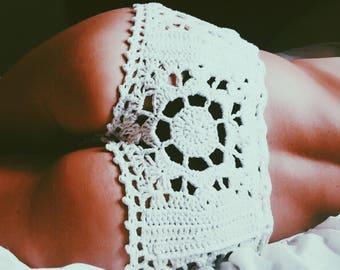 Stevie Beach Cover-Up Shorties. Hand Crocheted Vegan Friendly Cotton. Bohemian Beachwear. Cheeky! More Colors.