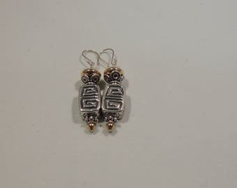 Sterling Silver Earrings with 10 K gold beads w/ ss Earwires