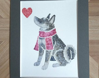 """Jämthund - Original 10x8"""" mounted watercolour picture of a Swedish Elkhound, by Yorkshire artist Jess Chappell"""