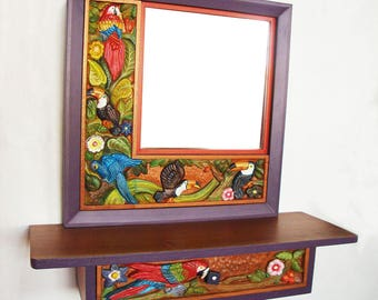 Console and mirror in wood carved with birds/console and mirror in carved wood with bird motifs