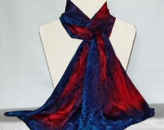 Hand Dyed Red and Navy Long silk Scarf/Shawl