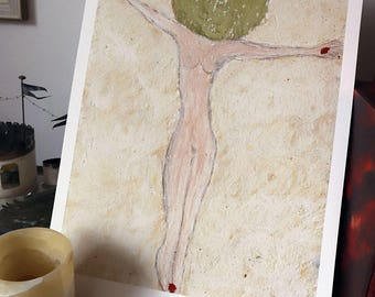 New Crucifixions 1 - Limited edition 1/25 hand-signed A3 fine art giclée print on 310gr paper. Female Christ on Cross
