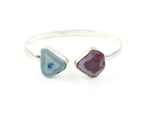 Rami Bracelet, Agate Bracelet, Bangle, Lower Arm Cuff, Boho, Bohemian, Gemstone Jewelry, Gypsy, Festival Jewelry, Raw Stones, Organic