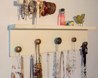 Jewelry Necklace Organizer with Bracelet Bar, Ivory and lightly distressed