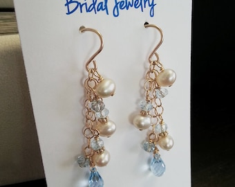 Pearl Earrings with Blue Topaz and Aquamarine Gold Dangle Earrings, Something Blue Jewelry, OOAK, Ready to Ship