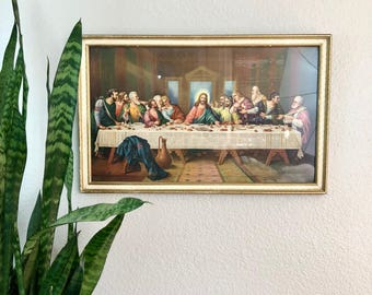 Beautiful Vintage Last Supper Print / Colorful Framed Jesus and Disciples Wall Art