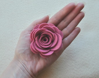 4 Piece Die Cut WOOL blend Felt DIY 3D Roses, Felt Flower, Large size