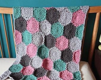 Hexagon blanket - throw - geometric blanket - luxury lap blanket - housewarming - pink, green, grey, pastel
