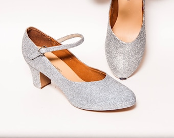 """Glitter - 2"""" Silver Character Shoes Heels for Theatre, Dance and Performance by Princess Pumps"""