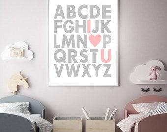 Printable Nursery Wall Art Print, Kids Art Print, Digital Alphabet Nursery , Printable Nursery Decor, Instant download poster, Kids room